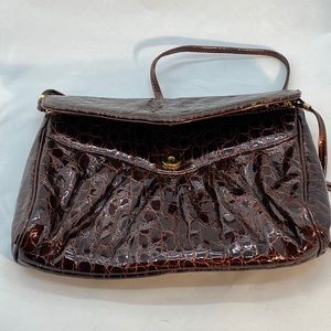 Brown patent leather purse